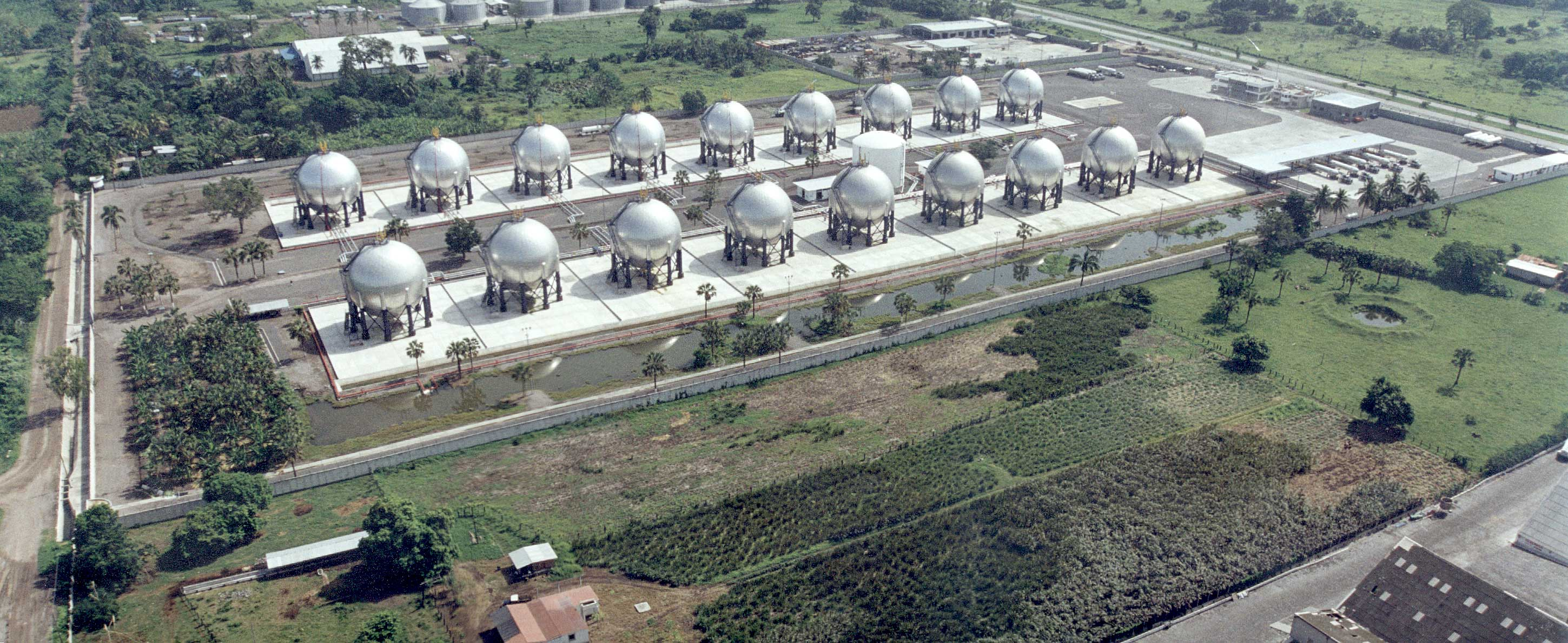 "Eighteen, 63' 6"" ASME Spheres for an LPG (Propane/Butane) Storage Facility and an AWWA D-100 Firewater Tank (Center)"